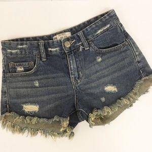 Free People Cut Off Denim Blue Jean Shorts Sz 24
